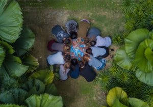 Group of people praying for nations